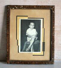 Antique Old Indian Child Little Boy Rare Black & White Framed Camera Photograph