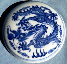 ANTIQUE CHINESE BLUE & WHITE PORCELAIN DRAGON PILL BOX