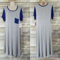 LuLaRoe NEW Size M Carly Dress Heathered Gray White Navy Blue Sleeves Pocket