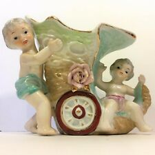 Vintage Antique PORCELAIN Vase CHERUB Wheeled CORNUCOPIA Horn of Plenty Figurine