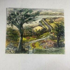 Watercolour And Ink Painting Path To Port Coastal Scene Signed