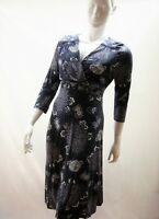 NEW PER UNA MARKS & SPENCER NAVY/WHITE FLORAL STRETCH JERSEY TEA DRESS 12 TO 24