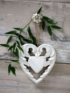 Gorgeous Shabby Chic Style Vintage White Winged Wooden Heart