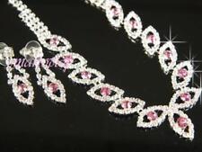 Conjuntos de bisutería de cristal de cristal de color principal rosa