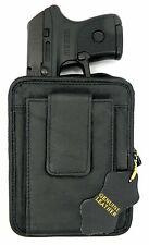Black Leather Pistol Pack Belt Holster Concealment Concealed Carry Weapon Holder