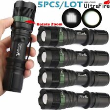 5PCS Ultrafire Tactical 20000LM T6 LED Zoomable 18650 Police Flashlights Torch