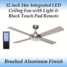 52 inch Silver 24w LED Ceiling Fan in Cool White Light and Black Touch Remote