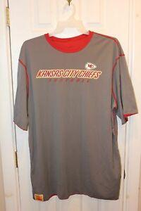 gray / red Kansas City Chiefs polyester reversible short-sleeve workout shirt 2X
