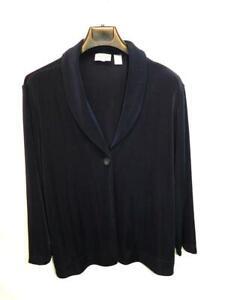 Chico's Travelers Size 3 XL Dark Blue Shirt Jacket One Button Stretch Travel