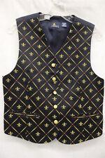 LIZ SPORT Petite, Navy Blue & Gold Fleur De Lis Vest, 100% Cotton, Womens SP