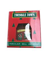 Vintage Twinkle Town Porcelain Christmas Bell Ornament Village House Holiday
