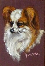 More details for papillon french dog original pastel painting by the late julie stooks