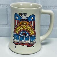 Vintage ALL AMERICAN BEER Mug Stein Patriotic Eagle Wallace Berrie 1982