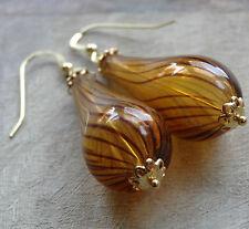 22ct GOLD on SILVER hand blown amber glass spiral bead tear drop earrings K76