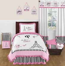 Sweet Jojo Designs Pink & Black Paris France Twin Girls Teens Luxury Bedding Set