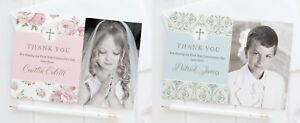 FIRST HOLY COMMUNION THANK YOU CARDS - 10 PERSONALISED GIRLS OR BOYS PHOTO CARDS