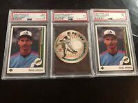 3 Randy Johnson Cards PSA 9 and 5