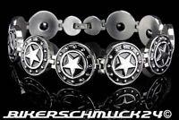 Rockabilly Schmuck Armband Black Stars massiv silber Edelstahl Herren Geschenk