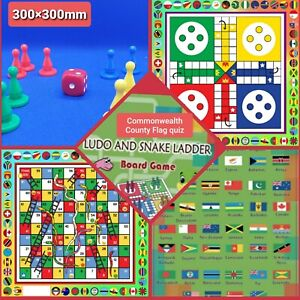 3 IN ONE FAMILY GAME  SNAKE & LADDER, LUDO AND COMMONWEALTH COUNTY FLAG QUIZ