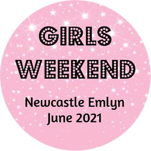 PERSONALISED GLOSSY HEN PARTY, BRIDAL SHOWER  GIRLS WEEKEND PINK STICKERS