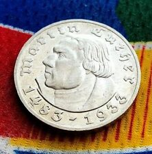 1933 G German WWII 5 Mark SILVER  Martin Luther 3rd Reich Coin UNC