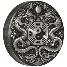 Tuvalu - 2 Dollar 2019 - Double Dragon - Chinesische Fabelwesen - 2 Oz Silber AF