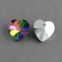 10 x Crystal Glass Faceted Heart Rainbow Pendant Charms Silver Back