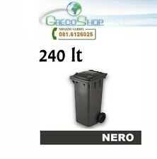 Cassonetto/Pattumiera/Bidone per raccolta rifiuti uso esterno 240 litri Nero