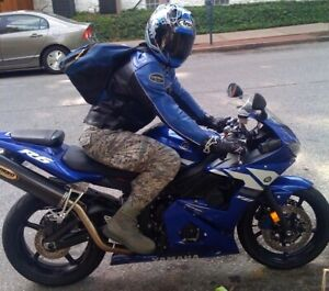 Vanson MK2 Hurricane Leather Jacket, Sportbike, Black/Blue 44 Full-Perf Rare
