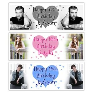 PHOTO PERSONALISED HEART HAPPY BIRTHDAY NAME BANNER WALL DECORATION PINK BLUE