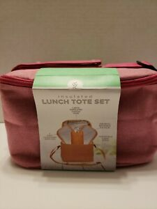 6 Piece Insulated Lunch Tote. Pink. Insulated Tote, 2 Food Containers With Lids,