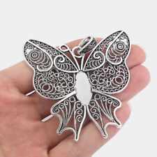 2 Tibetan Silver Large Butterfly Charms Pendants Blank 22x10mm Cabochon Settings