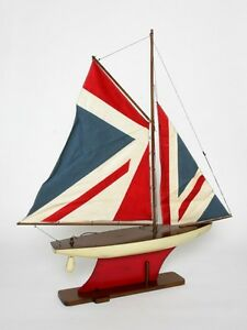 Modellschiff Schiff Modell Holz Segel Yacht Jacht Union Jack USA Boot Meer Neu