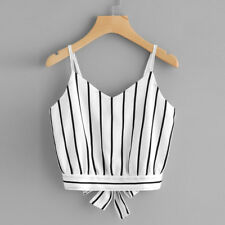 Summer Women's Self Tie Back V Neck Striped Crop Cami Tops Camisole Blouse White XL
