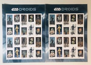 Star Wars Droids Forever Stamps 2 Full Sheets USPS FREE SHIPPING