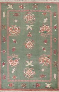 Green Floral Nepalese Modern Oriental Area Rug Hand-knotted Wool Carpet 9x12 ft