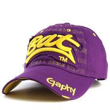 Casquette de baseball bat gaphy réglable NEUF jaune violet