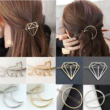 Fashion Cute Women Gold Silver Geometry Moon Hairpin Hair Clip Hair Accessories