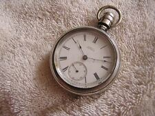 Antique AW Waltham Co Waltham Pocket Watch Sterling Silver Case P. S.  Bartlett