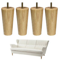 Wood Furniture Legs Unfinished Set of 4 Clear Coated Tapered Legs 5-6 inch