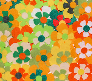 Die Cut Felt Flowers Spring Medium Florals Toppers Embellishments Yellow Red