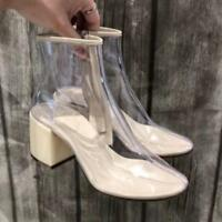 Women Vogue Transparent Block Heel Round Toe Ankle Boots Zips Casual New Shoes