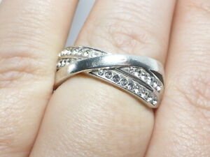 Fine Lovely Chunky Sterling Silver & Clear Crystal Crossover Ring UK Size N 1/2