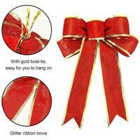 25cm große Schleifen Bowknot Weihnachtsbaum Ornamente Home Holiday Decor X1O8