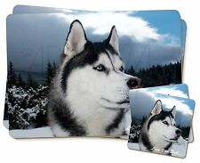 Siberian Husky 'Love You Dad' Twin 2x Placemats+2x Coasters Set in Gif, DAD-49PC