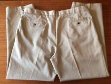 Mens Haggar Khaki Tan Dress Pants SIZE 42x32 Pleated Front 100% Cotton No Iron