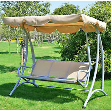 3 Person Outdoor Swing Seat Patio Hammock Furniture Bench Yard Loveseat W/Canopy