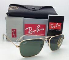 New RAY-BAN Sunglasses CARAVAN RB 3136 001 55-15 Arista Gold w/ G15 Green lenses