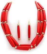 FIVE STRAND RED LUCITE BEAD GOLD TONE BEAD NECKLACE EARRING