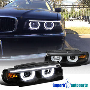 For 1995-2001 BMW E38 7-Series Black Projector Headlights Dual Halo LED